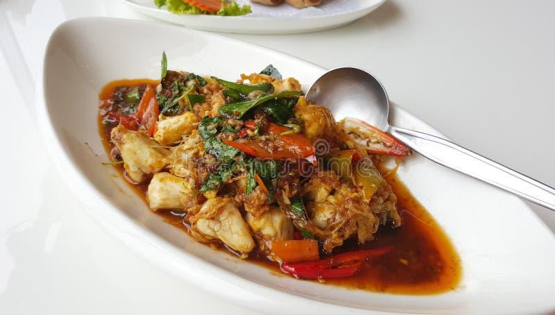 Carne de cangrejo sofrita con goma del chile foto de archivo libre de regalías