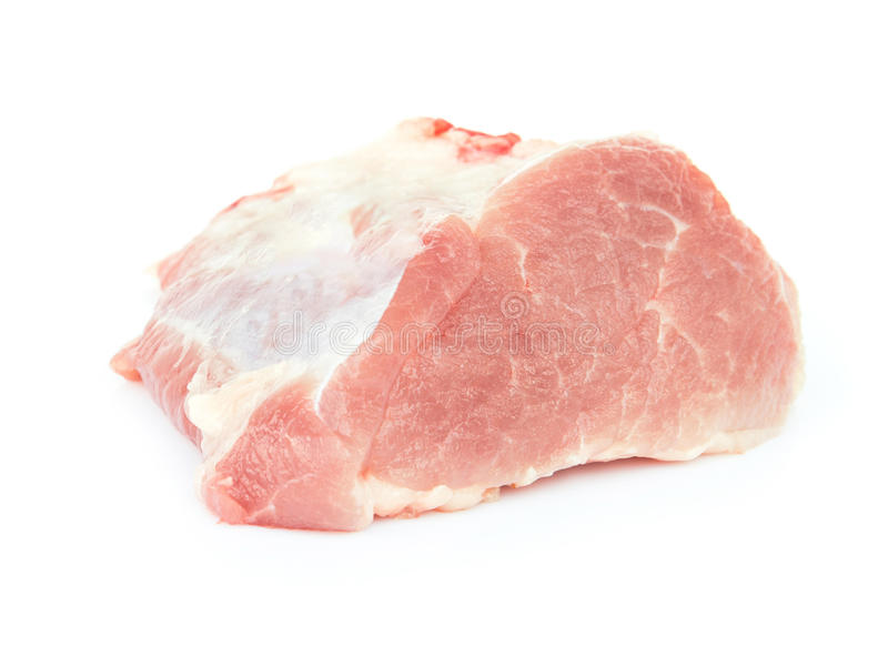 Carne de carne de porco crua para cozinhar no fundo branco imagem de stock