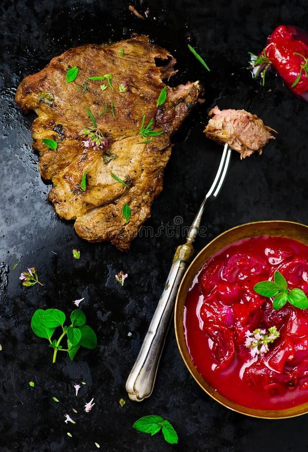 Carne de carne de porco grelhada imagens de stock royalty free
