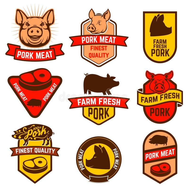 Carne de cerdo, etiquetas de la carnicería ilustración del vector