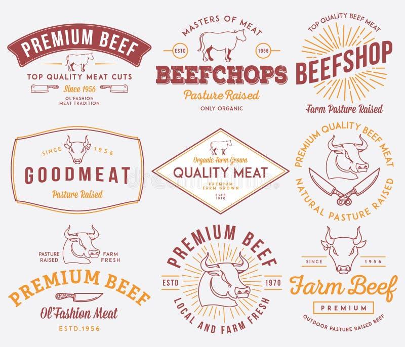 Carne de la carne de vaca de la calidad coloreada stock de ilustración