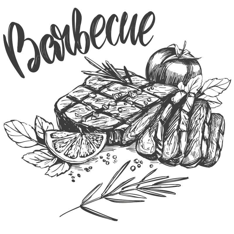 Carne de la comida, filete, sistema de la carne asada, texto caligráfico, bosquejo realista dibujado mano del ejemplo del vector stock de ilustración