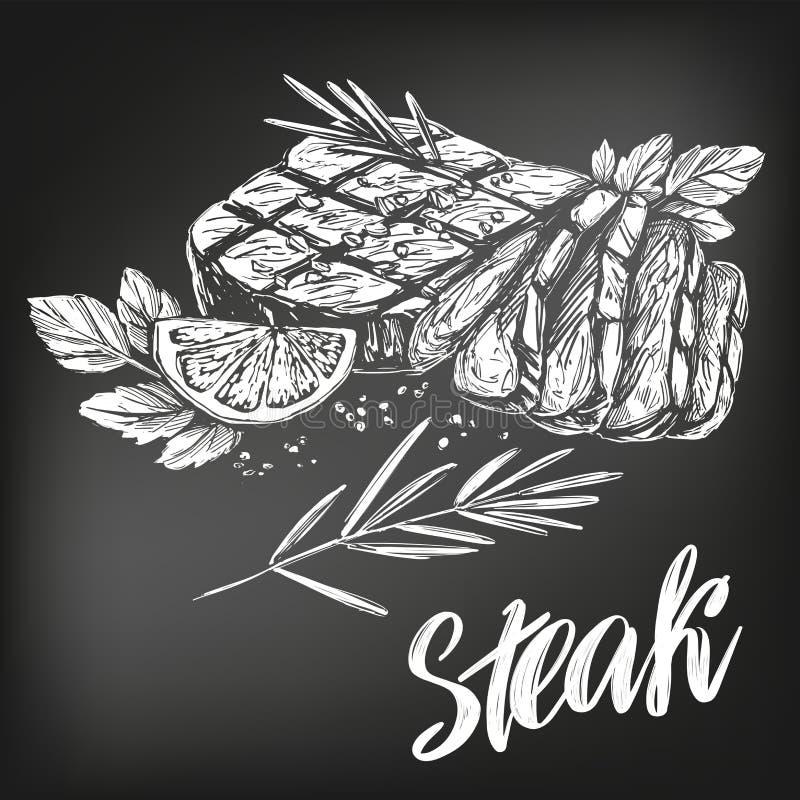 Carne de la comida, filete, sistema de la carne asada, texto caligráfico, bosquejo realista dibujado mano del ejemplo del vector, libre illustration