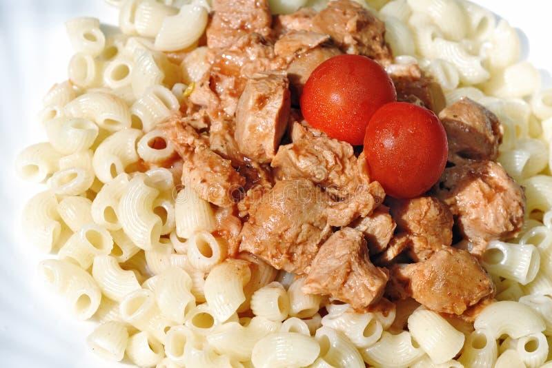 Carne de la soja con las pastas foto de archivo