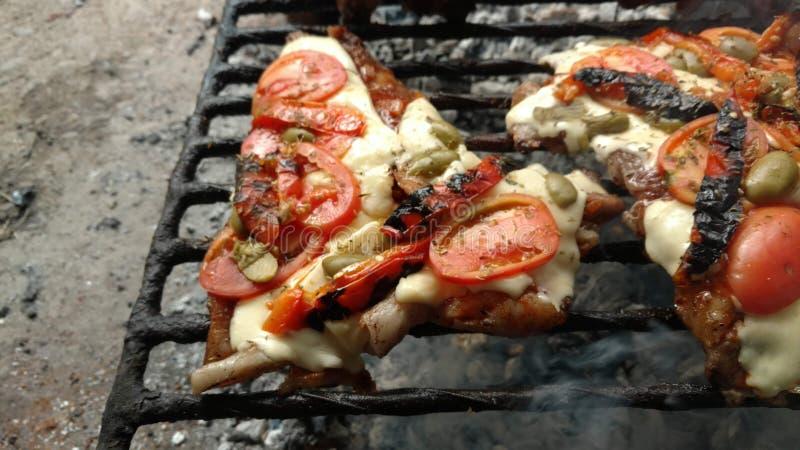 carne de porco à pizza fotografia de stock royalty free