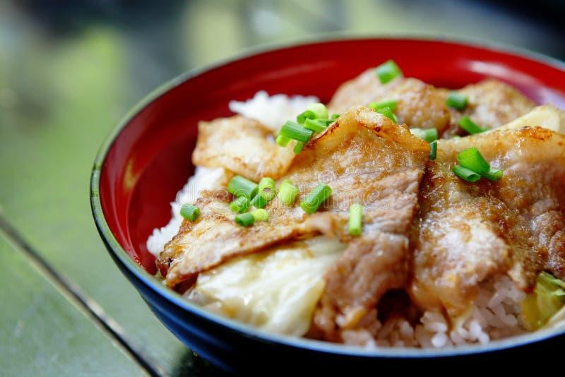 Carne de porco com arroz fotografia de stock royalty free