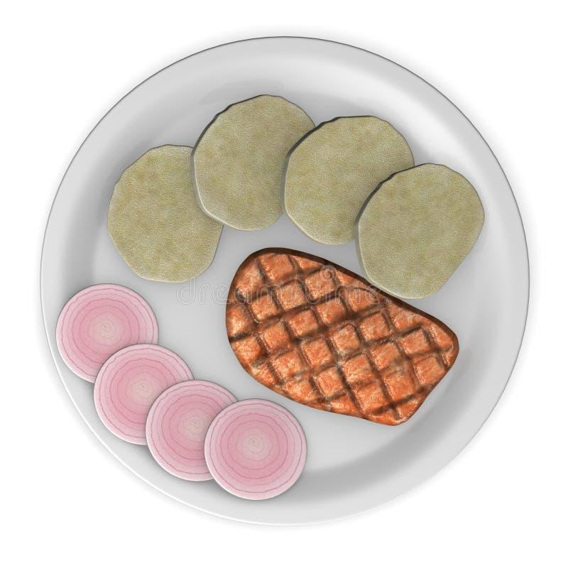 Carne de porco com cebola e bolinhos de massa ilustração royalty free