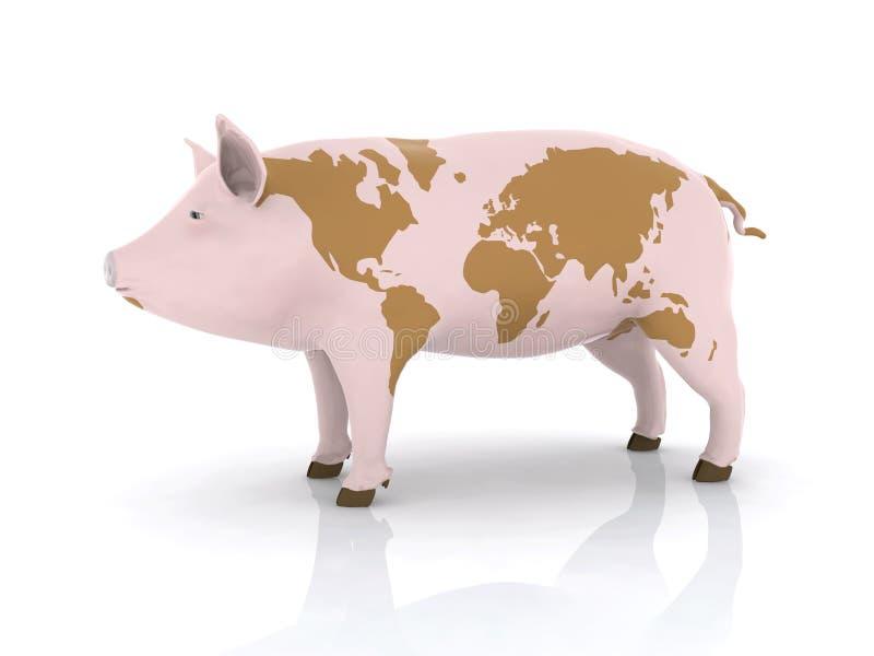 Carne de porco com mapa de mundo ilustração do vetor