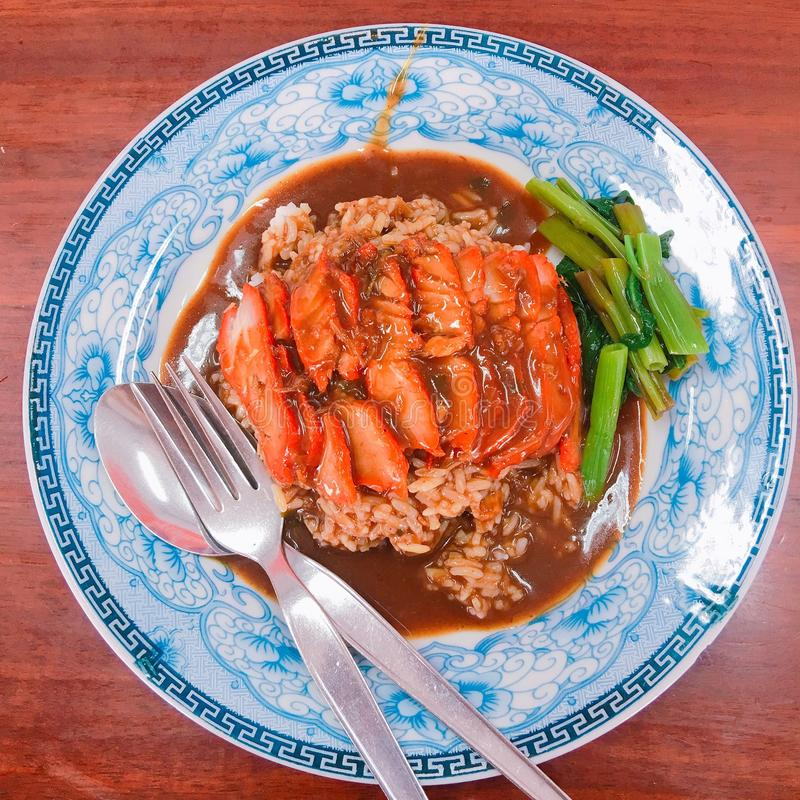 Carne de porco do assado com arroz imagem de stock royalty free