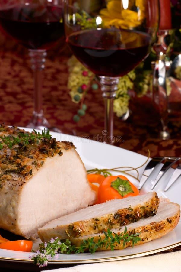 Carne de porco do assado do tomilho do alho fotografia de stock royalty free