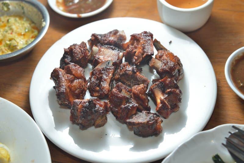 Carne de porco do BBQ e carne de vaca seca roasted imagens de stock