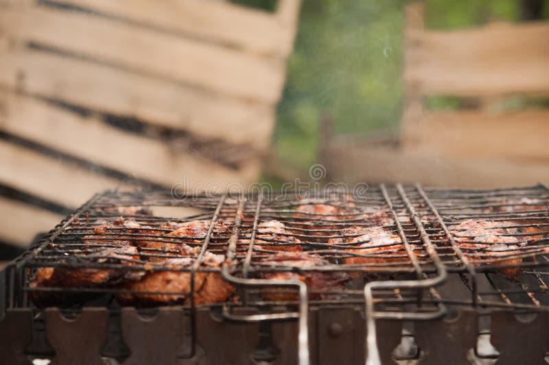 Carne de porco dos no espeto na grade com close-up do fumo Pedaços da carne do assado no fogo Quintal, conceito do resto, carne,  fotos de stock royalty free