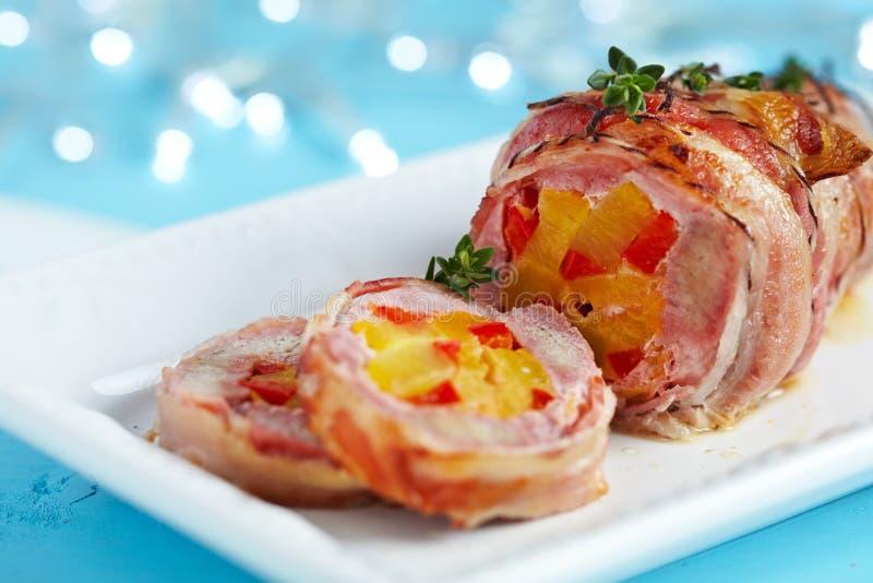 Carne de porco envolvida bacon fotos de stock