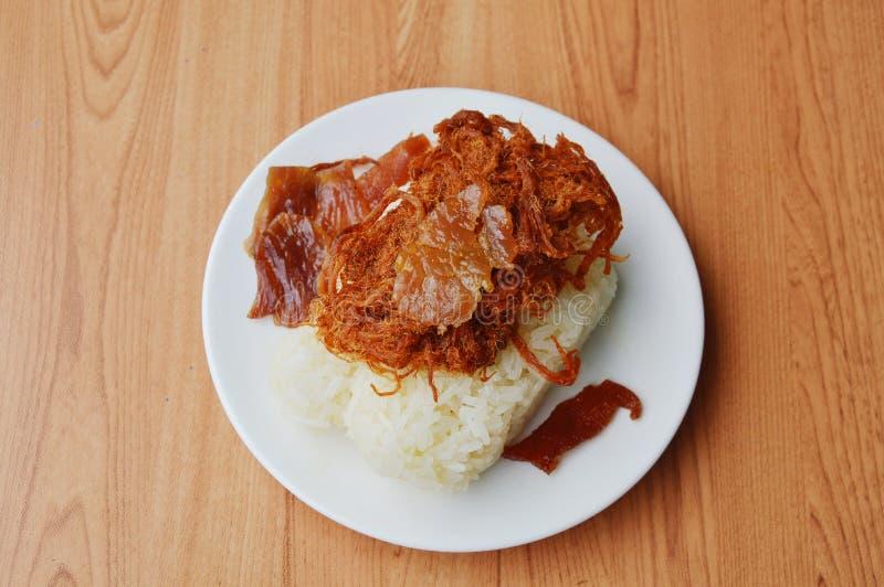 Carne de porco friável no arroz pegajoso imagens de stock royalty free