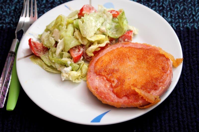 Carne de carne de porco fritada com salada foto de stock royalty free