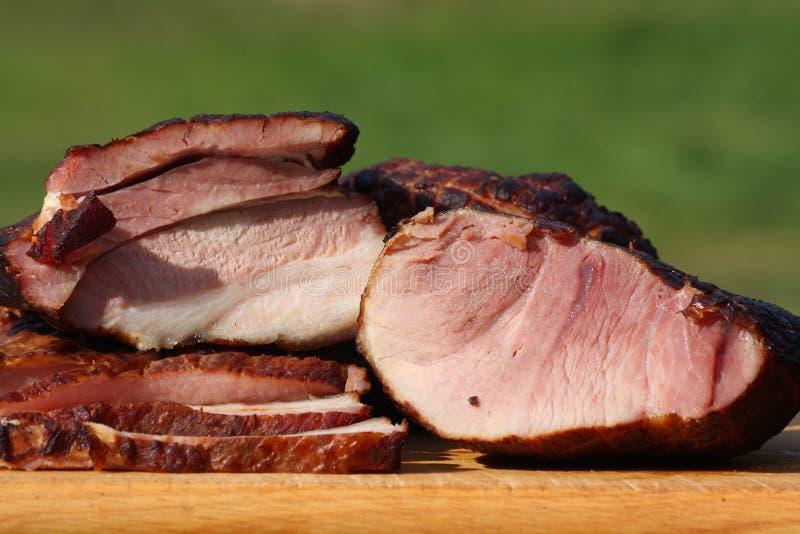 Carne de porco fumado - presunto e bacon imagem de stock