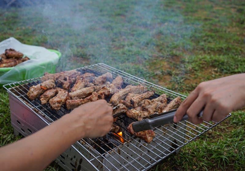 Carne de porco grelhada exterior imagem de stock