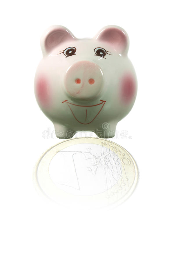 A carne de porco refletida no espelho é uma moeda fotos de stock royalty free