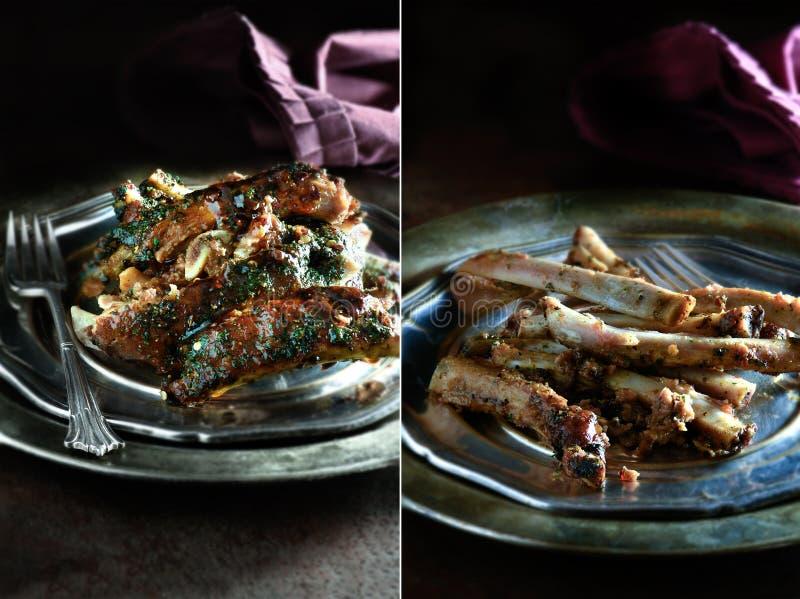 Carne de porco Rib Montage imagens de stock
