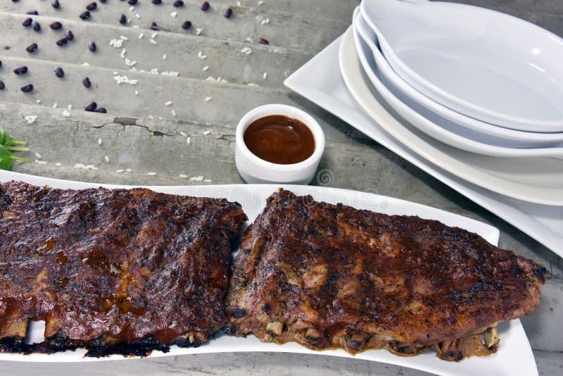 Carne de porco Rib Rack de Barbequed fotografia de stock