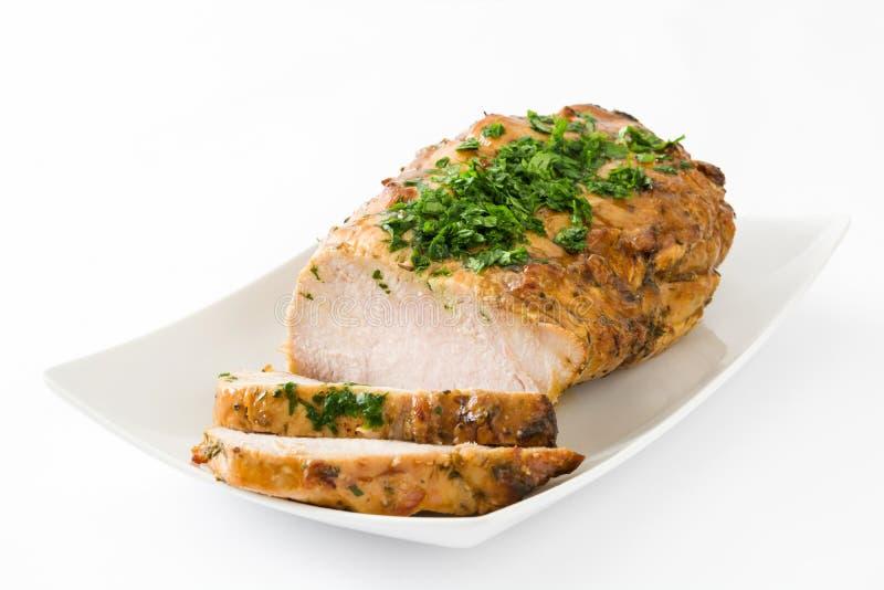 Carne de porco Roasted isolada foto de stock royalty free
