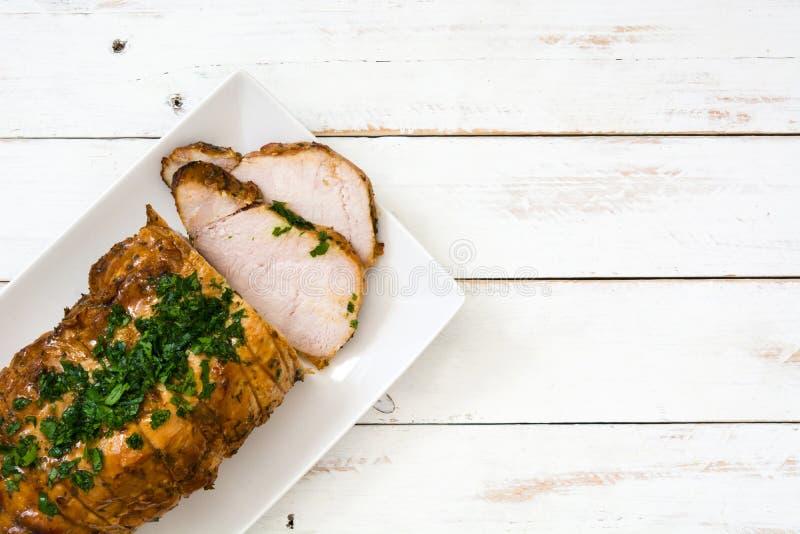Carne de porco Roasted na placa fotografia de stock