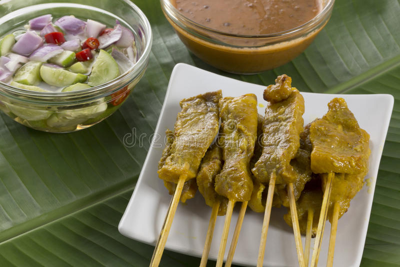 Carne de porco satay fotografia de stock