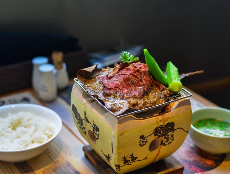 Carne de vaca ahumada tradicional del wagyu de la barbacoa fotografía de archivo libre de regalías