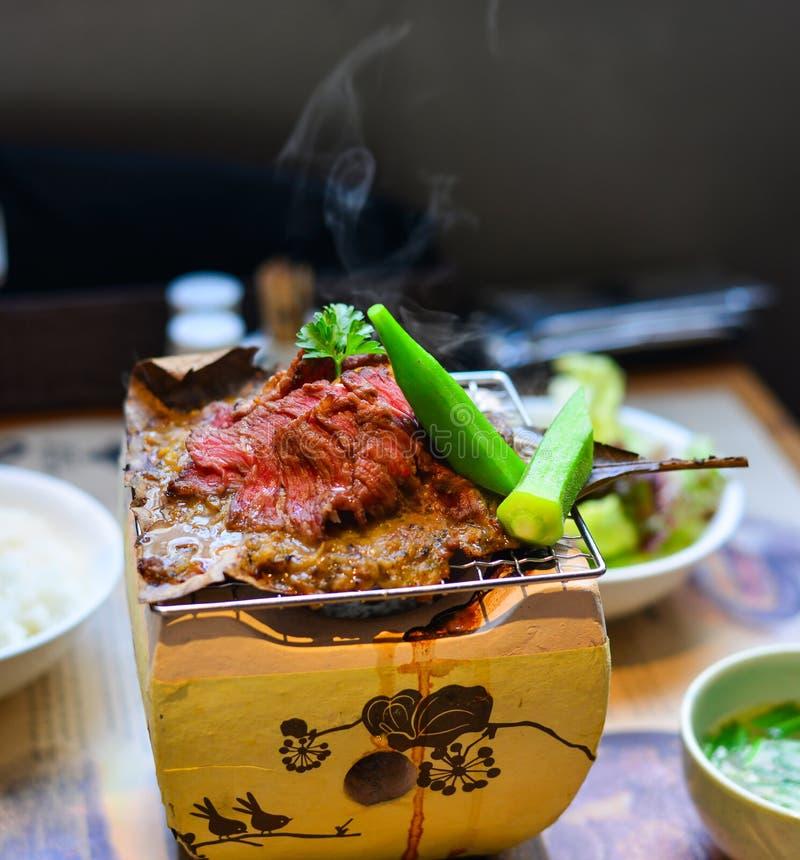Carne de vaca ahumada tradicional del wagyu de la barbacoa fotos de archivo libres de regalías