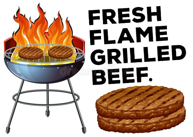 Carne de vaca asada a la parrilla en la estufa del Bbq ilustración del vector