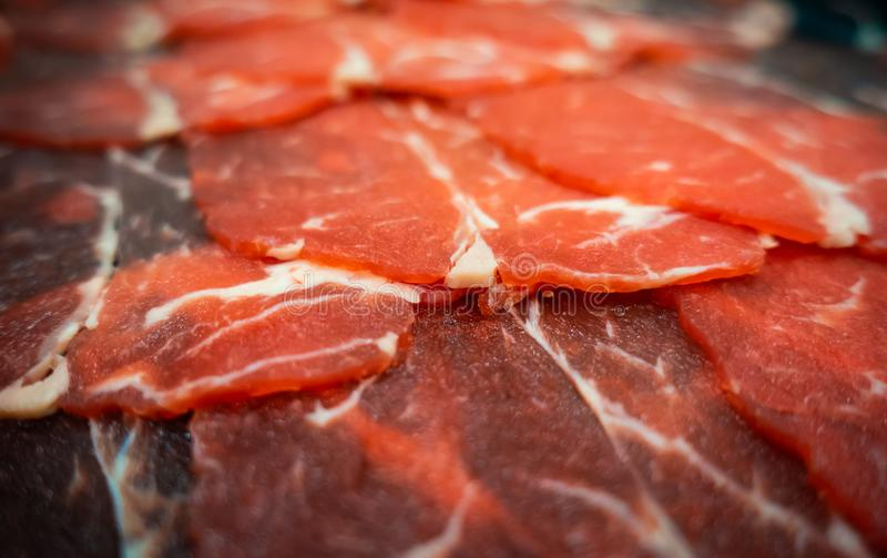 Carne de vaca cortada para la comida caliente del pote de Shabu fotos de archivo