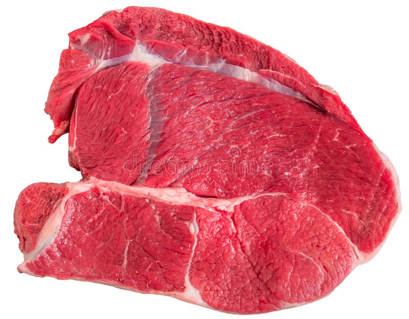 Carne de vaca cruda de la carne del prendedero de la vaca aislada en blanco foto de archivo libre de regalías