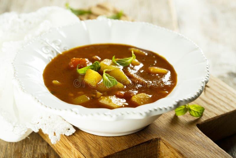 Carne de vaca y verduras hechas en casa de la sopa de cocido húngaro fotografía de archivo libre de regalías