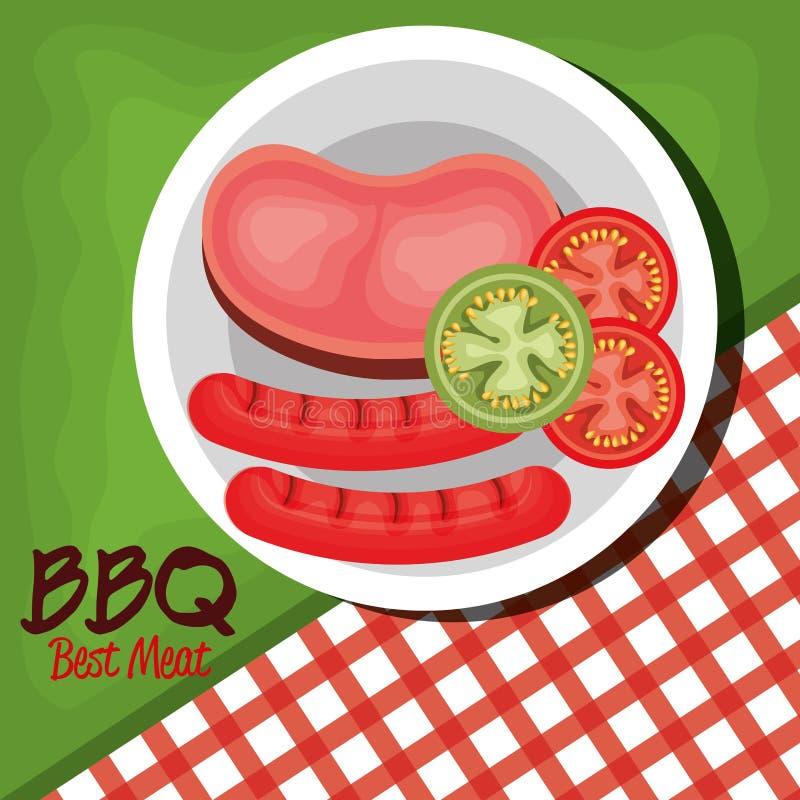 carne del partito del bbq migliore illustrazione vettoriale