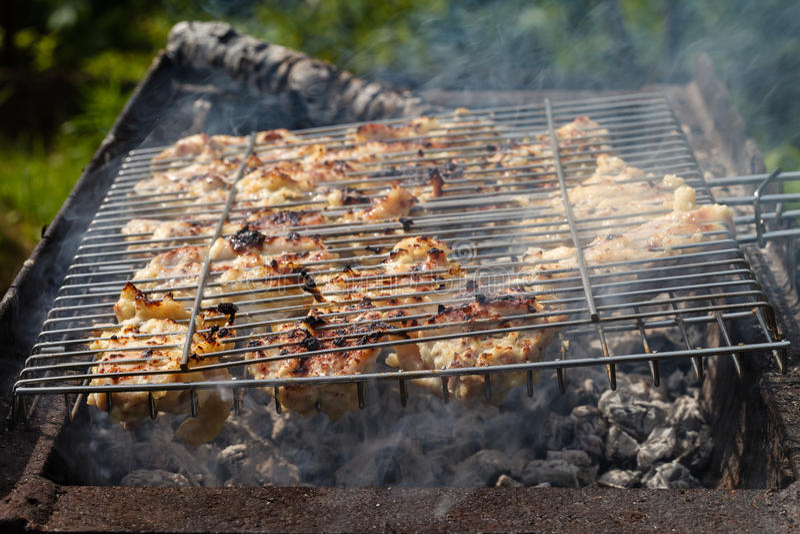 Carne del pollo frita en una parrilla de la barbacoa imagenes de archivo