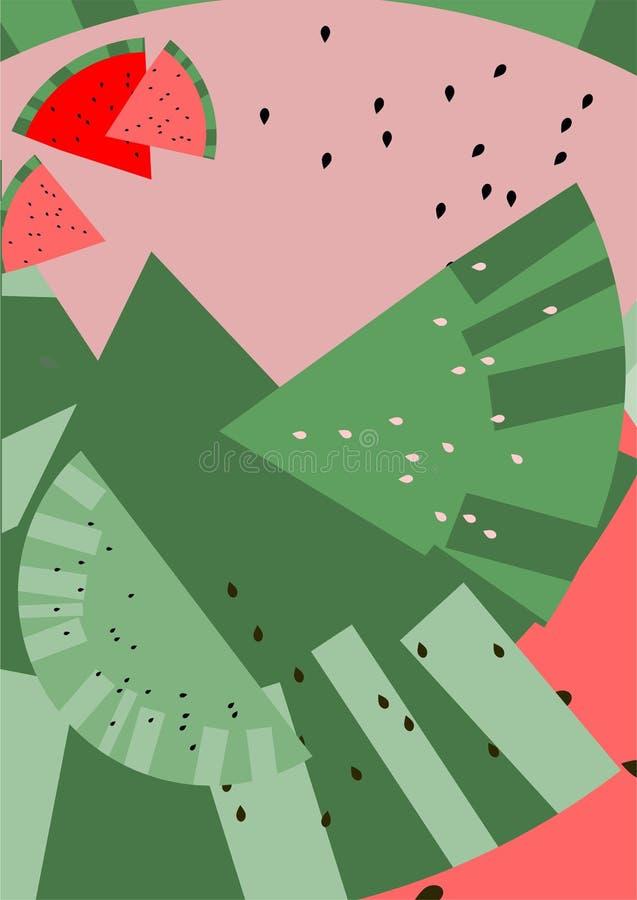 Carne dell'anguria Estratto illustrazione vettoriale
