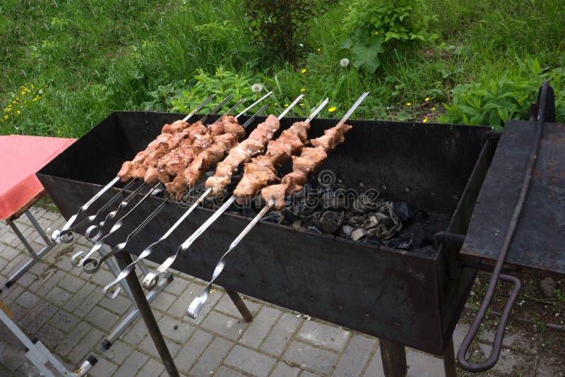 carne dell'arrosto sugli spiedi su fuoco aperto fotografia stock