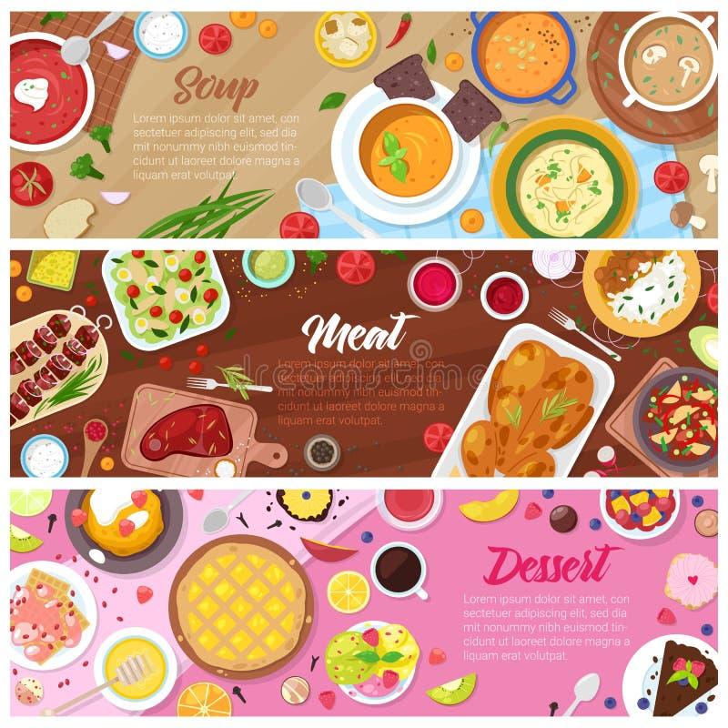 Carne della minestra cucinata vettore del piatto dell'alimento e dolce dolce del dessert con i frutti nell'insieme dell'illustraz royalty illustrazione gratis