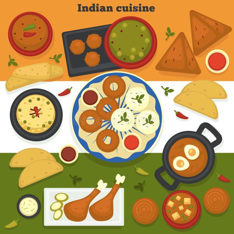 Carne di cucina ed alimento indiani dell'India dei prodotti della panificazione illustrazione vettoriale