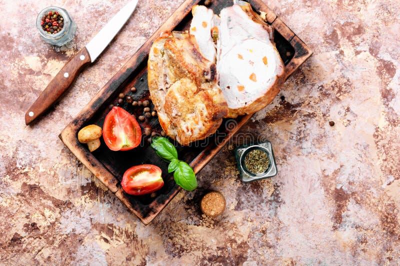 Carne di maiale al forno del prosciutto fotografia stock