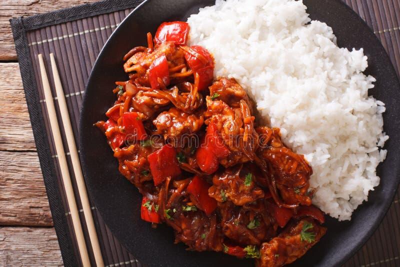 Carne di maiale con le verdure ed il riso di contorno nello stile asiatico orizzontale fotografia stock libera da diritti