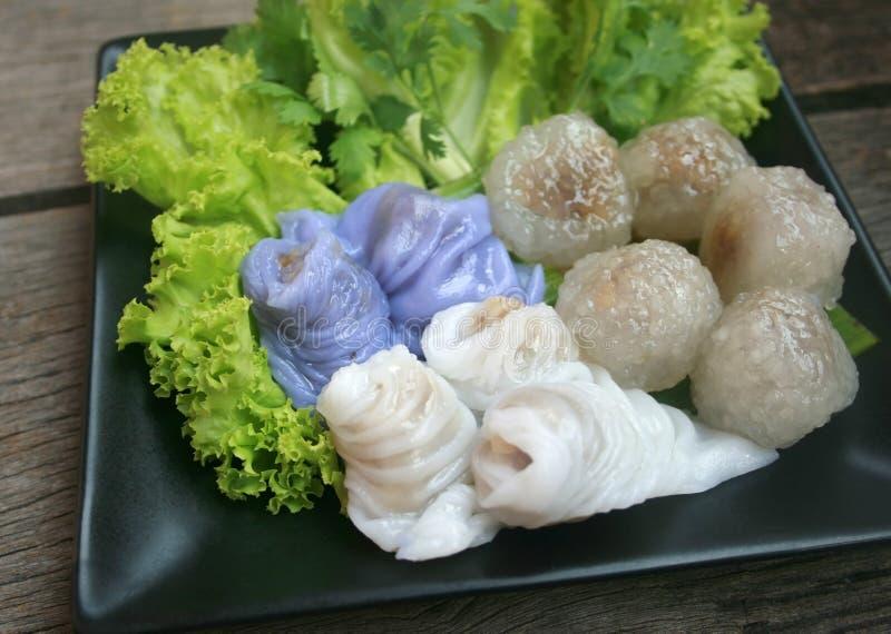 Carne di maiale del sagù, dessert tailandese ed aperitivo di Steame di recente casalingo fotografie stock libere da diritti