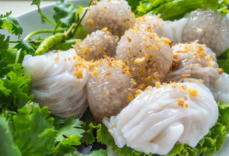 Carne di maiale del sagù e gnocchi cotti a vapore della riso-pelle immagini stock libere da diritti