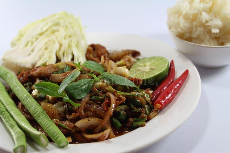 Carne di maiale dell'insalata per alimento tailandese immagine stock
