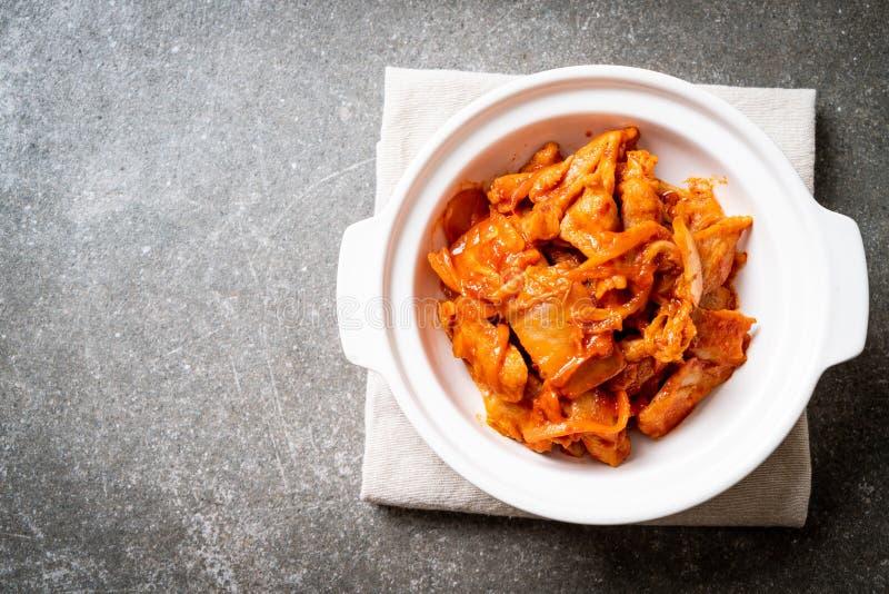 Carne di maiale in padella con il kimchi fotografie stock libere da diritti