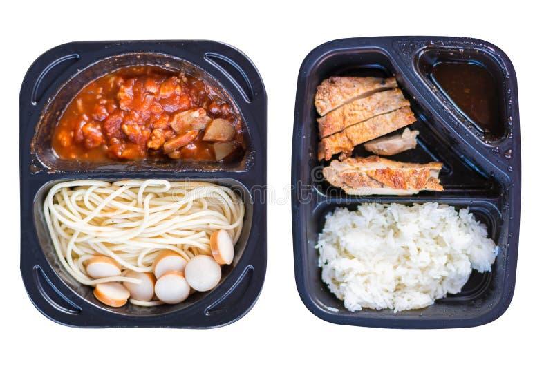 Carne di maiale tailandese della griglia di stile di nutrizione con il riso del bastone e gli spaghetti ch fotografia stock libera da diritti
