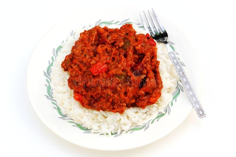 Carne di manzo con salsa al peperoncino rosso fotografie stock