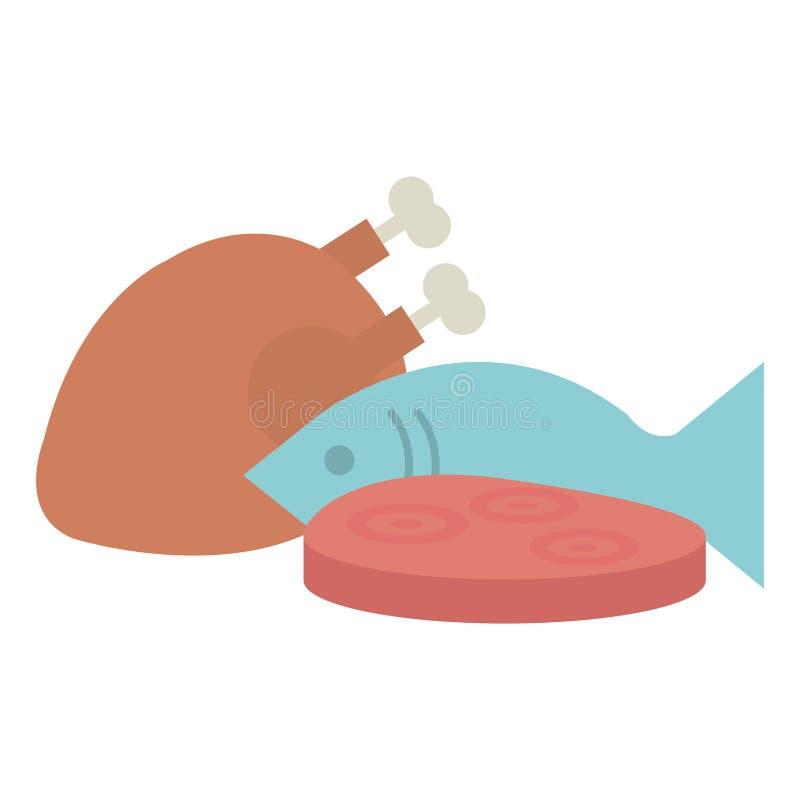 Carne di pollo deliziosa con il pesce ed il prosciutto illustrazione di stock