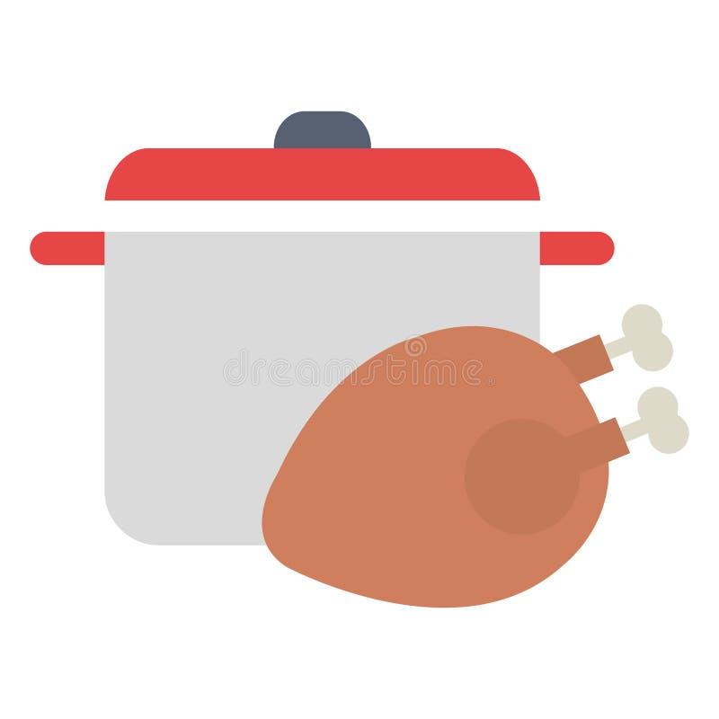 Carne di pollo deliziosa con il vaso illustrazione vettoriale
