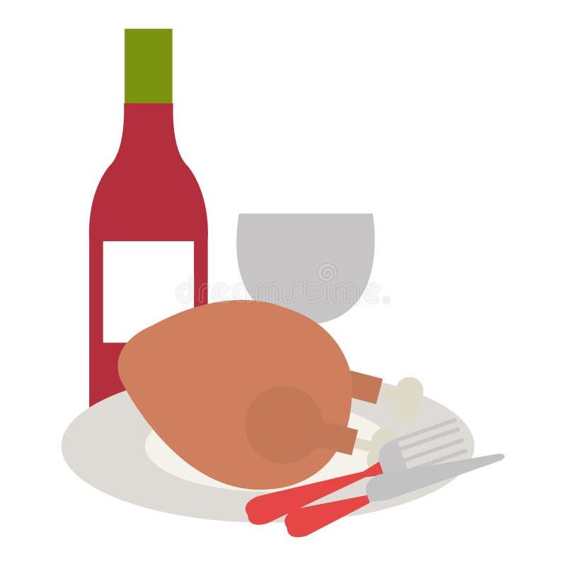 Carne di pollo deliziosa con le coltellerie ed il vino royalty illustrazione gratis